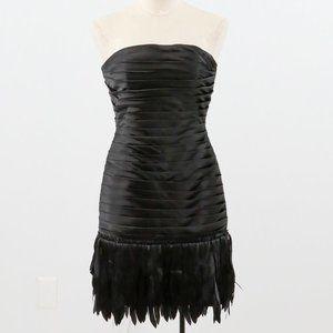 WHBM 90s 2 Fringe Embellished Mini Dress Black